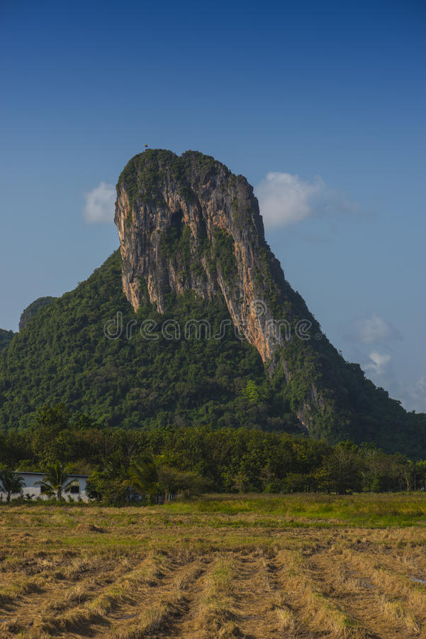 Khao Aok talu. Mountain is landmark in Phatthalung province name Khao Aok talu The Hole Mountain stock photo