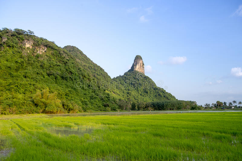 Khao Aok talu. Mountain is landmark in Phatthalung province name Khao Aok talu The Hole Mountain royalty free stock images