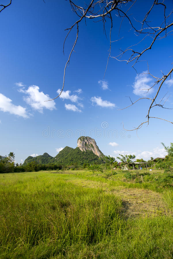Khao Aok talu. Mountain is landmark in Phatthalung province name Khao Aok talu The Hole Mountain stock photos