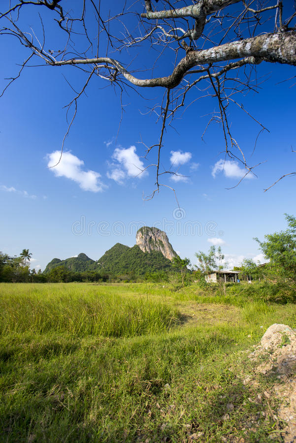 Khao Aok talu. Mountain is landmark in Phatthalung province name Khao Aok talu The Hole Mountain royalty free stock photo