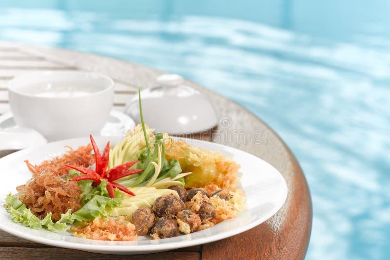 Khao Chae,泰国食物 免版税库存图片