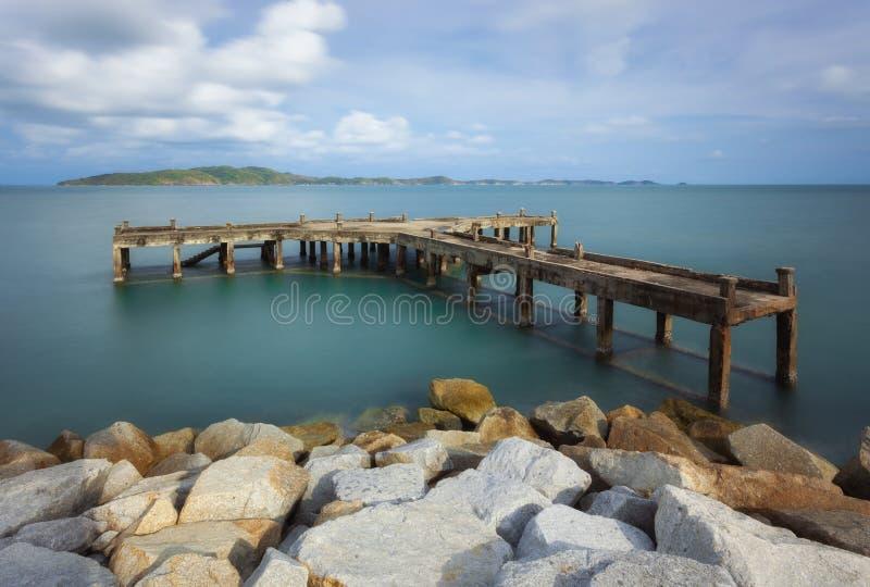 The old pier in Khao Laem Ya, Mu Ko Samet, Thailand royalty free stock images