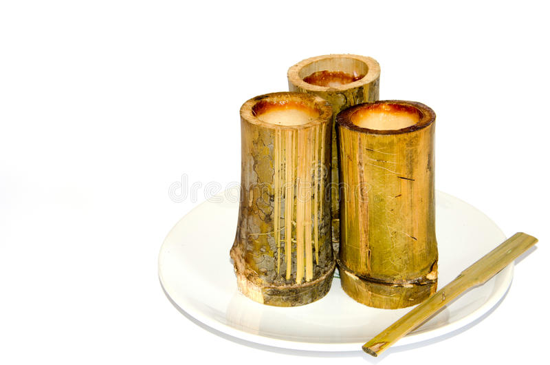Khao Larm (arroz de bambu) fotografia de stock
