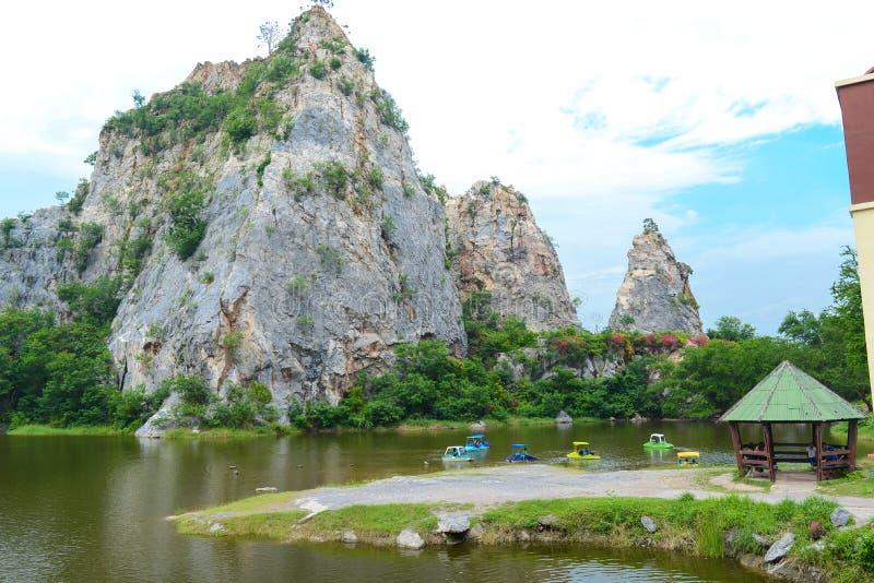 Khao Ngu Stone Park in Ratchaburi, Thailand. Landscape of Stone mountains and blue sky, nature fresh background, Khao Ngu Stone Park in Ratchaburi, Thailand stock images