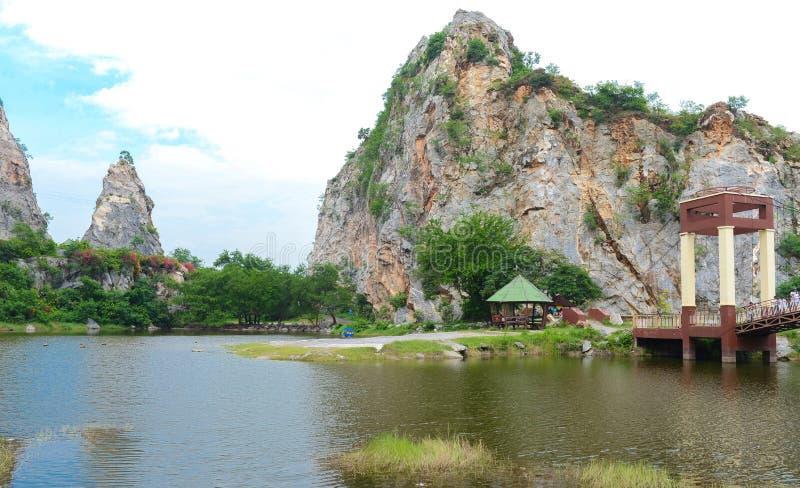 Khao Ngu Stone Park in Ratchaburi, Thailand. Landscape of Stone mountains and blue sky, nature fresh background, Khao Ngu Stone Park in Ratchaburi, Thailand stock image