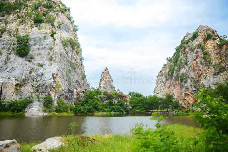 Khao Ngu Stone Park in Ratchaburi, Thailand. Landscape of Stone mountains and blue sky, nature fresh background, Khao Ngu Stone Park in Ratchaburi, Thailand royalty free stock image