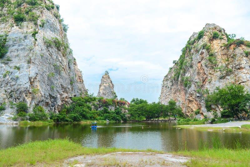 Khao Ngu Stone Park in Ratchaburi, Thailand. Landscape of Stone mountains and blue sky, nature fresh background, Khao Ngu Stone Park in Ratchaburi, Thailand royalty free stock photo