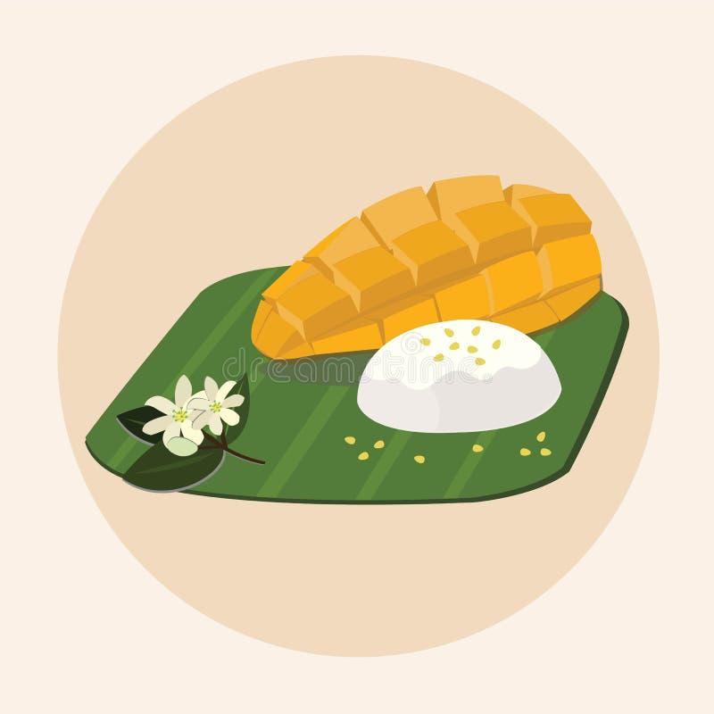 Khao Niew mA Muang - arroz pegajoso dulce tailand?s con el mango ilustración del vector