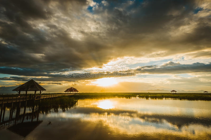 Khao Sam Roi Yot national park in Thailand. Sunset in Lotus lake at Khao Sam Roi Yot national park in Thailand stock photography