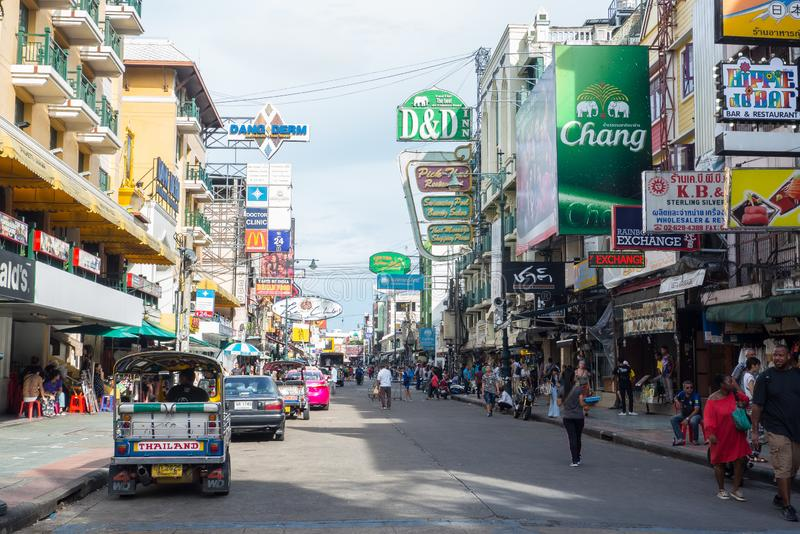 Khao san road is a short 410 meter long street in central Bangkok, has developed into a world-famous `backpacker ghetto`. BANGKOK, THAILAND. – On royalty free stock photography