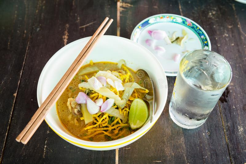 Khao Soi Noodle food of North Thai Style. Closeup stock images