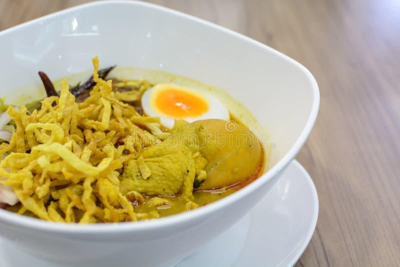 Khao soi Thai Crispy Noodle chicken curry. Thai Crispy Noodle Curry Soup With Chicken(khao soi royalty free stock photos