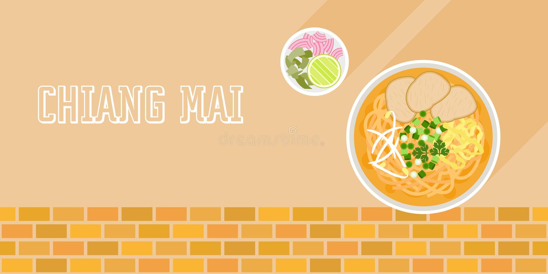 Khao Soja, kokosowa curry'ego kluski polewka z wołowiną i bocznym naczyniem ilustracja wektor