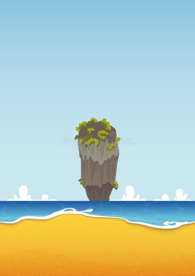 Khao Tapu, Tailândia Praia, ilha, seascape com mar e textura da areia Fundo para o cartaz tropical do verão Vetor ilustração royalty free