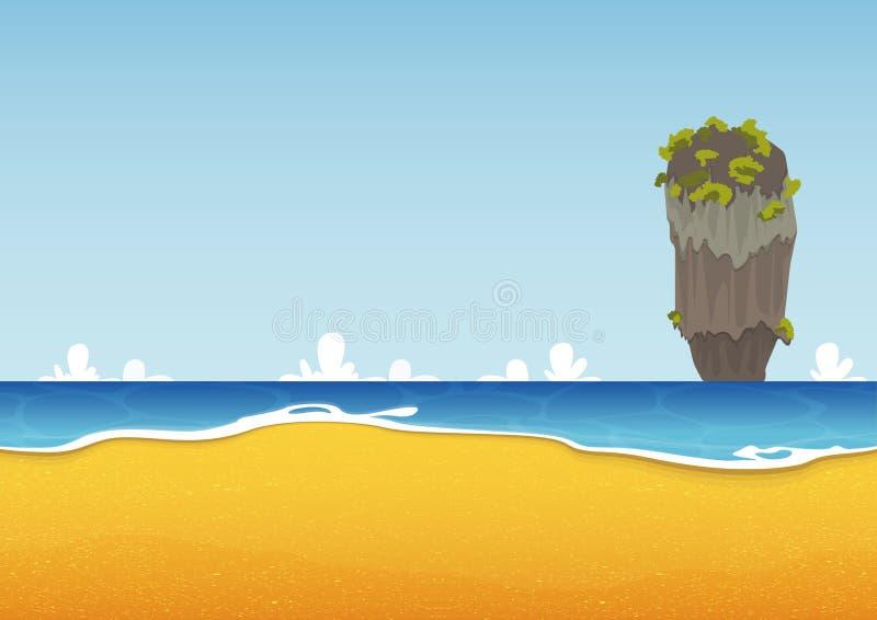 Khao Tapu, Thailand Strand, eiland, zeegezicht met overzees en zandtextuur Achtergrond voor de zomer tropische affiche Vector stock illustratie