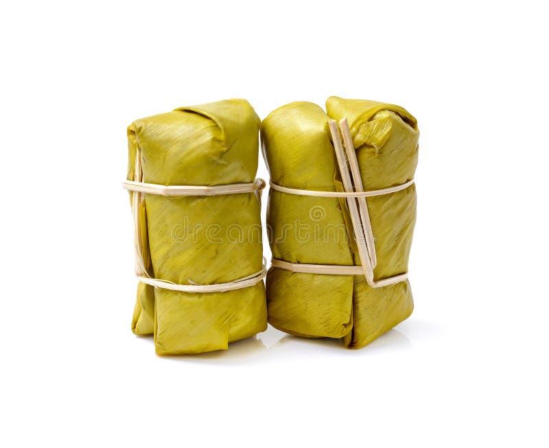 Khao Tom Mud, thailändischer Artnachtisch gemacht von der Banane und klebriges ric stockfotos