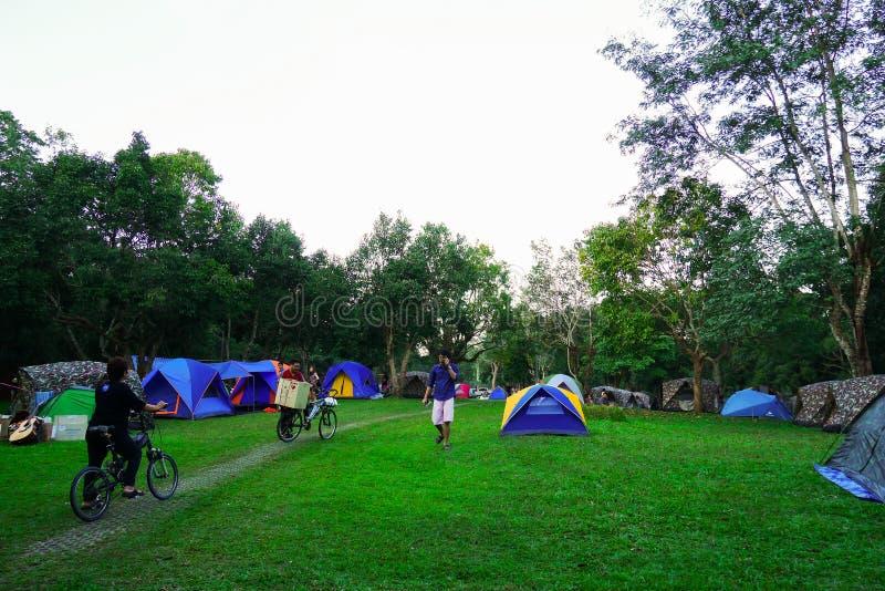 Khao yai, Nakhon Ratchasima, Tailandia: Campo turistico al campeggio, campeggio fotografia stock
