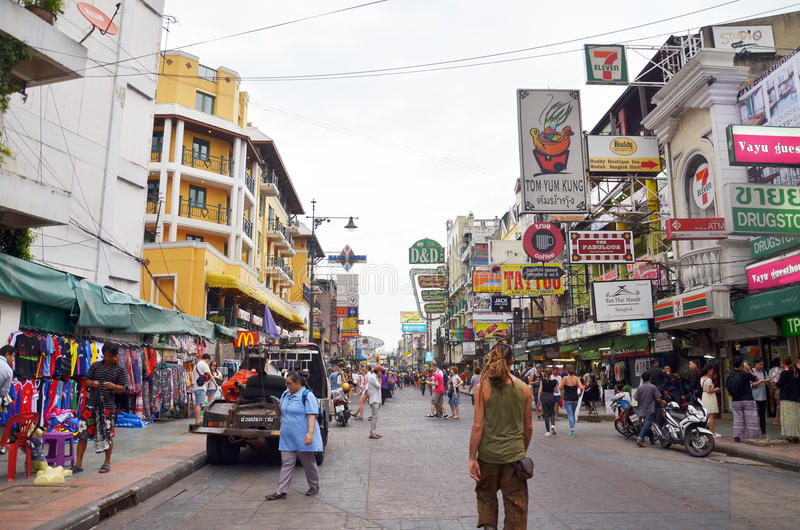 Khaosan road in Bangkok royalty free stock images