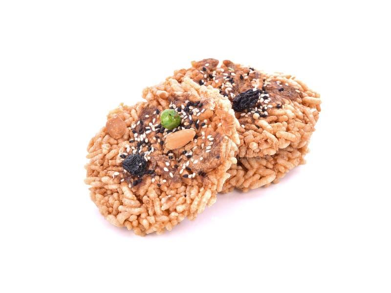 Khaotan,在白色背景的米薄脆饼干 免版税图库摄影