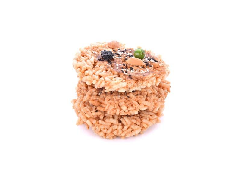 Khaotan,在白色背景的米薄脆饼干 免版税库存图片