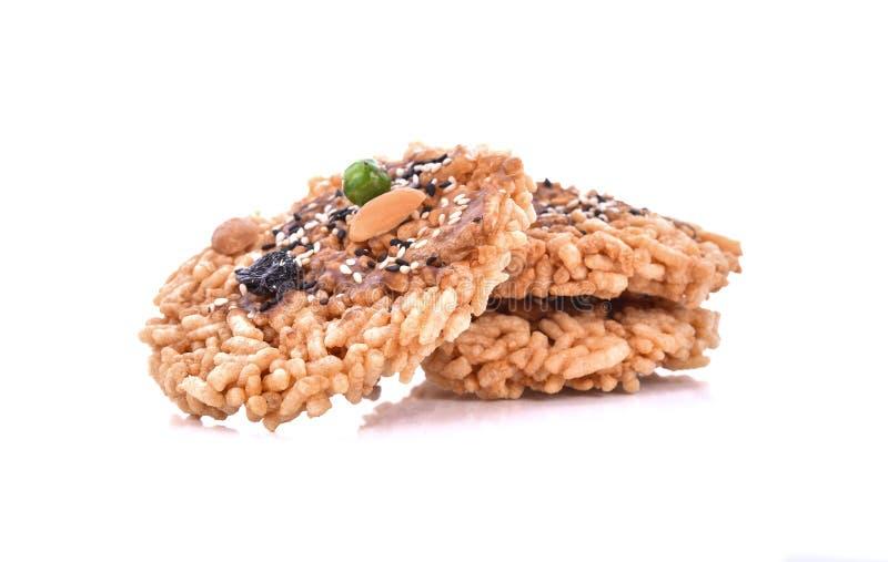 Khaotan,在白色背景的米薄脆饼干 库存图片