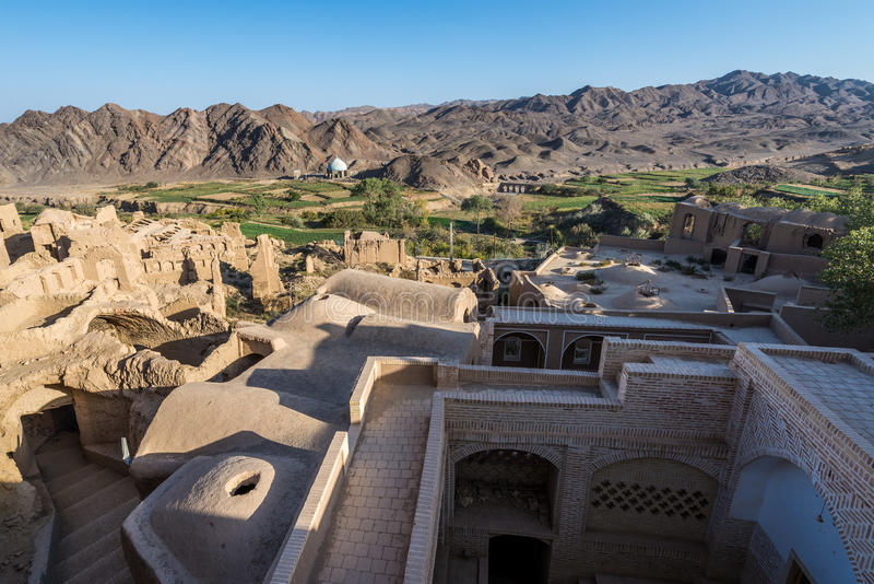 Kharanaq in Iran. Aerial view from bandoned mud brick village of Kharanaq in Iran royalty free stock photos