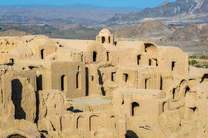 Kharanaq in Iran. Houses of abandoned mud brick village of Kharanaq in Iran stock image