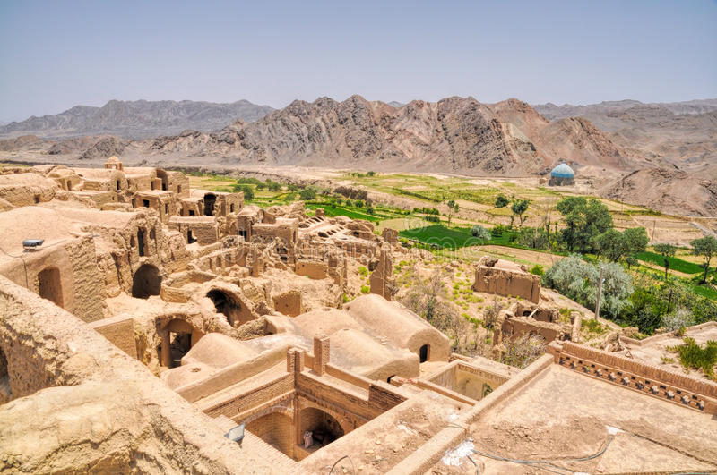 Kharanaq in Iran. Ruins of old houses in village of Kharanaq in Iran royalty free stock photography