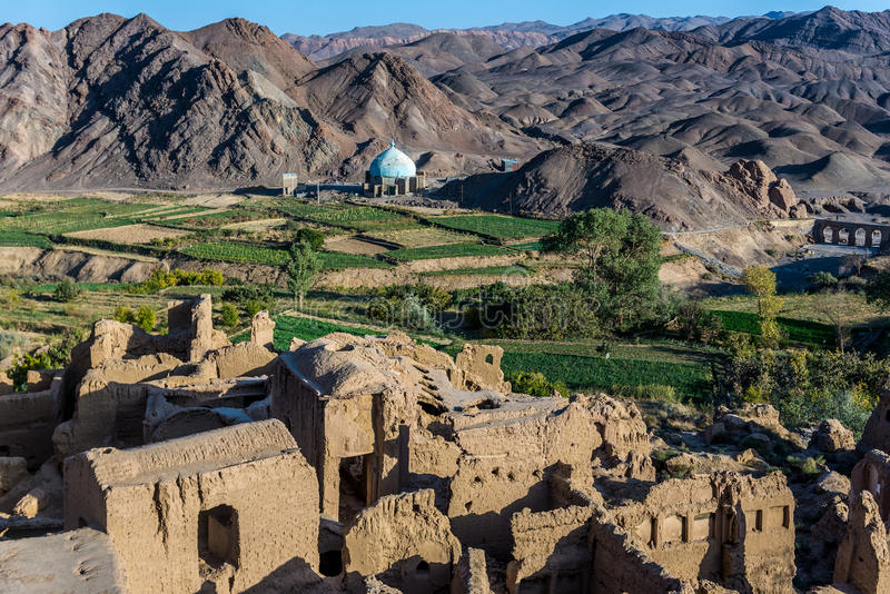Kharanaq in Iran. View from building roof in abandoned mud brick village of Kharanaq in Iran royalty free stock photo