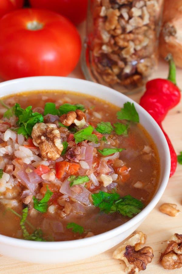 Kharcho-Suppe des strengen Vegetariers mit Reis und Walnüssen stockbild