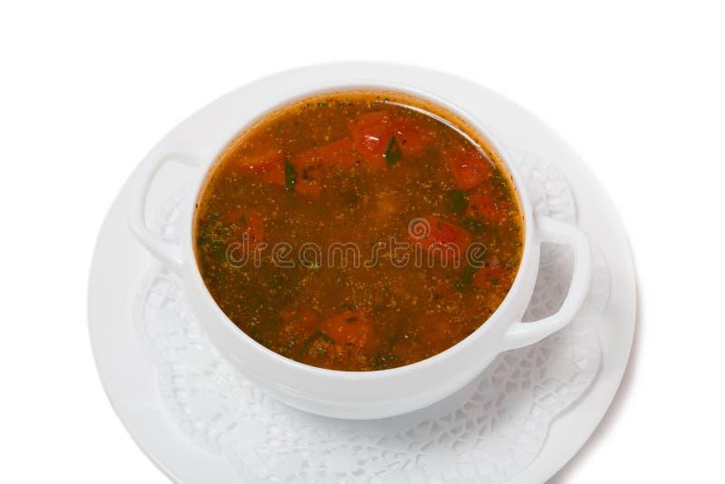 Kharchosoep met vlees en rijst royalty-vrije stock afbeeldingen