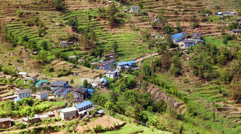 Kharikhola village, Nepalese Himalayas mountains. Trek from Jiri bazar to Lukla village and Everest area stock photography