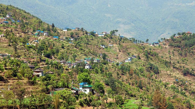 Kharikhola village, Nepalese Himalayas mountains royalty free stock photo
