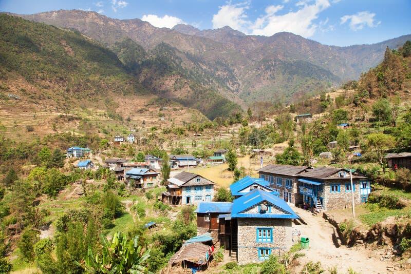 Kharikhola village, Nepalese Himalayas mountains. Trek from Jiri bazar to Lukla village and Everest area royalty free stock photography