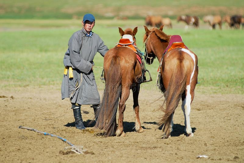 Man wearing traditional dress holds two horses with traditional Mongolian saddles in Kharkhorin, Mongolia. royalty free stock images