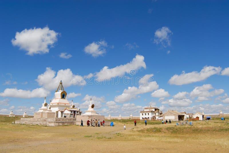 People visit Erdene Zuu monastery in Kharkhorin, Mongolia. stock photography