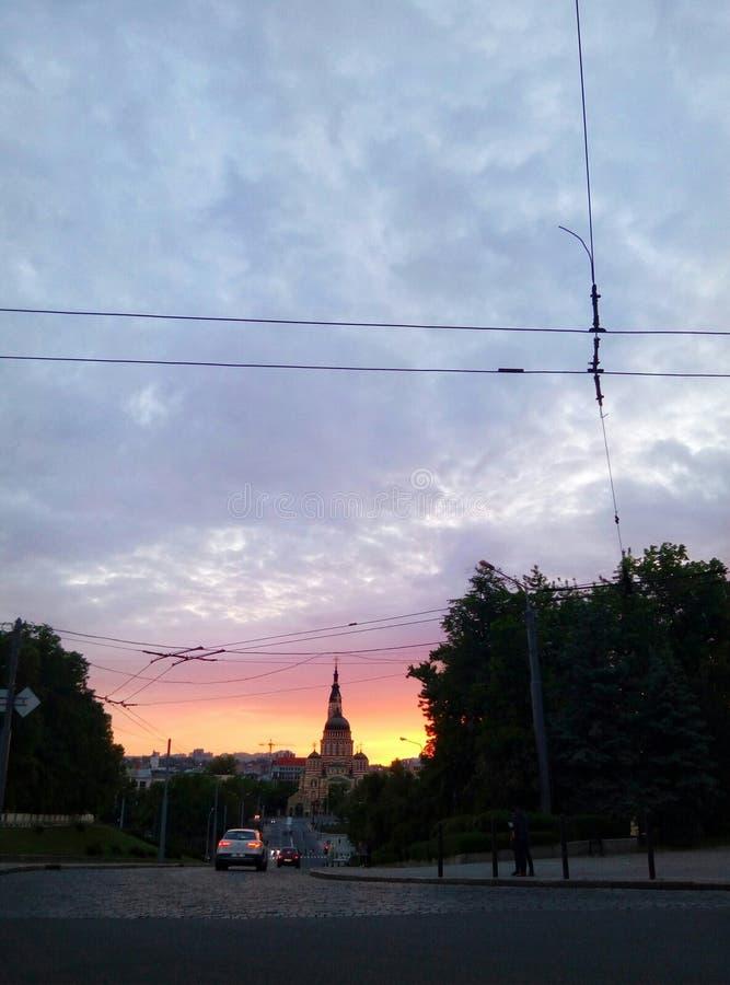 Kharkiv à la soirée images stock