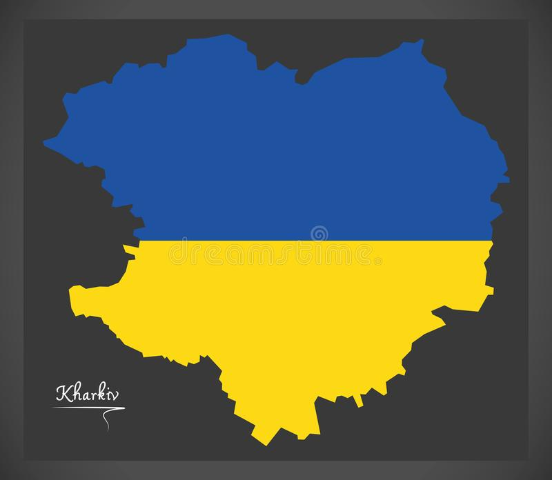 Kharkiv map of Ukraine with Ukrainian national flag illustration. Kharkiv map of Ukraine with Ukrainian national flag royalty free illustration
