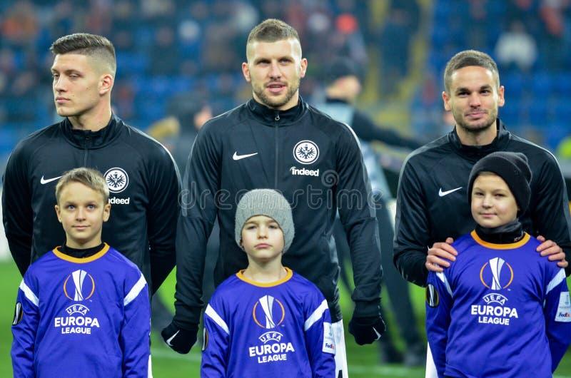 KHARKIV UKRAINA - Februari 14, 2019: Ante Rebic under UEFA Europa Leaguematchen mellan Shakhtar Donetsk vs Eintracht royaltyfria bilder