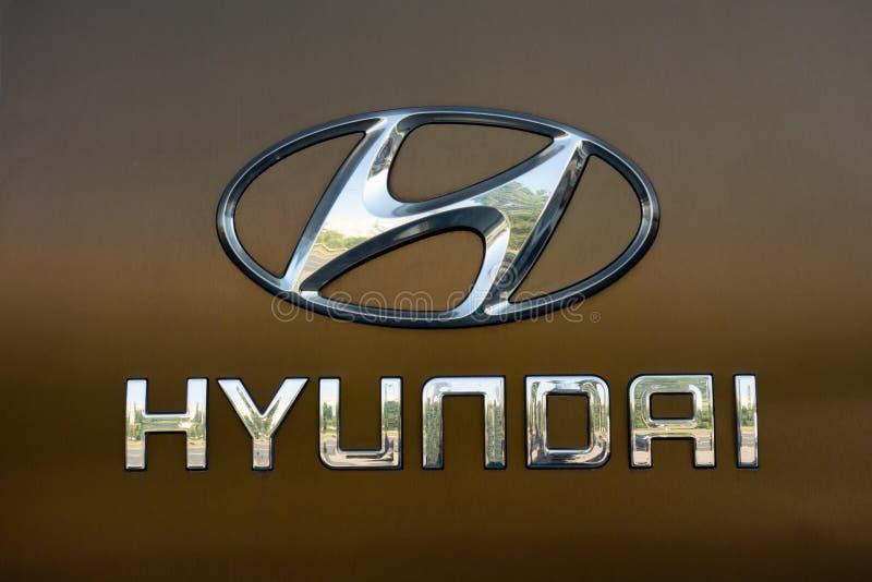 Kharkiv Ukraina, Juli, 2019 Hyundai logotecken på handel för automatisk återförsäljare och servicemitt royaltyfria bilder