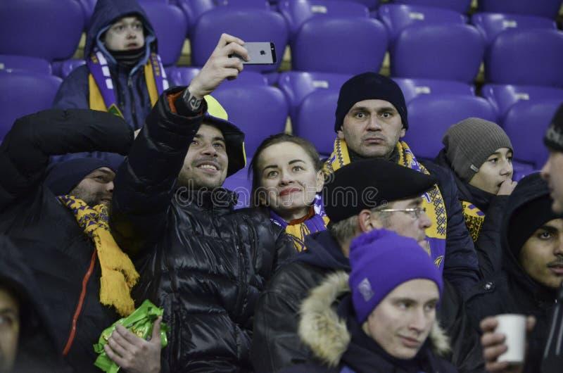 Kharkiv UKRAINA - November 15, 2016: Supporter- och fansuppor royaltyfri fotografi