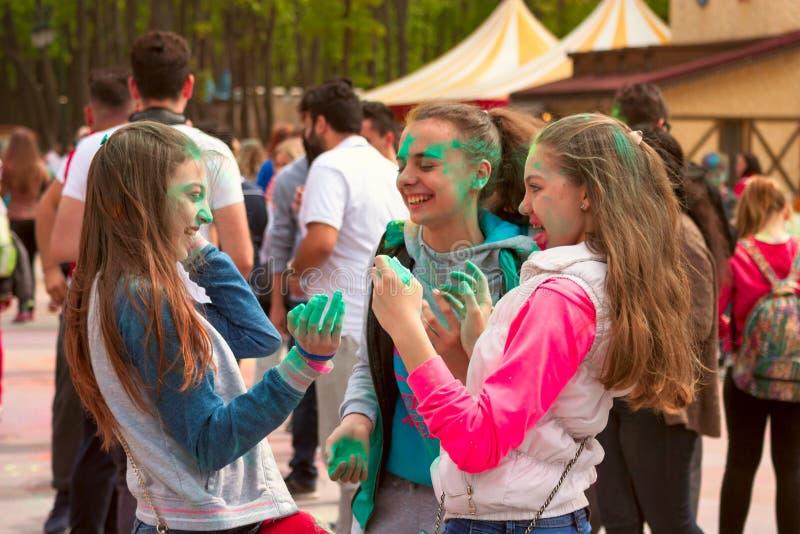 Download Kharkiv, Ukraine - April 24, 2016. Group Of Happy Girls On Holi Festival Editorial Stock Image - Image: 90744154