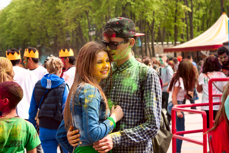 Download Kharkiv, Ukraine - April 24, 2016. Portrait Of Happy Couple In Love On Holi Festival Editorial Photography - Image: 90744167