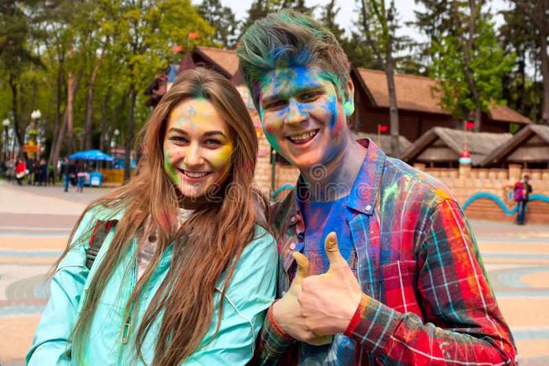 Download Kharkiv, Ukraine - April 24, 2016. Portrait Of Happy Couple In Love On Holi Festival Editorial Stock Photo - Image: 90744263