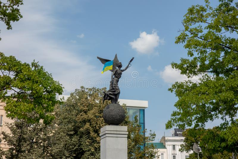 Kharkiv, Ukraine, August, 2019 Flying Ukraine monument on the Constitution Square in city downtown. Symbol of Independence and one stock photography