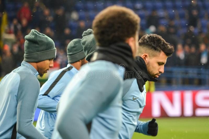 KHARKIV, UKRAINE - December 06, 2017: Training of football players of Manchester City before the UEFA Champions League match stock photo