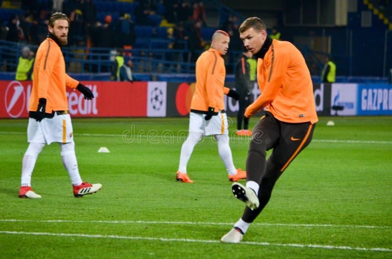 KHARKIV, UKRAINE - FEBRUARY 21, 2018: Edin Dzeko during UEFA Champions League match between Shakhtar Donetsk vs AS Roma at OSK Me. Talist stadium, Ukraine stock photo