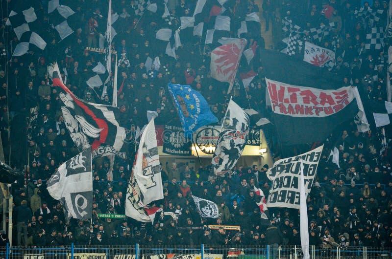 KHARKIV, UKRAINE - February 14, 2019: Eintracht Frankfurt fans and ultras during the UEFA Europa League match between Shakhtar stock image