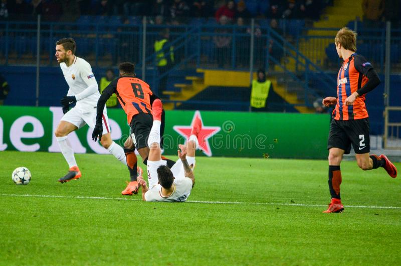 KHARKIV, UKRAINE - FEBRUARY 21, 2018: Football player during UEFA Champions League match between Shakhtar Donetsk vs AS Roma at O. SK Metalist stadium, Ukraine stock images
