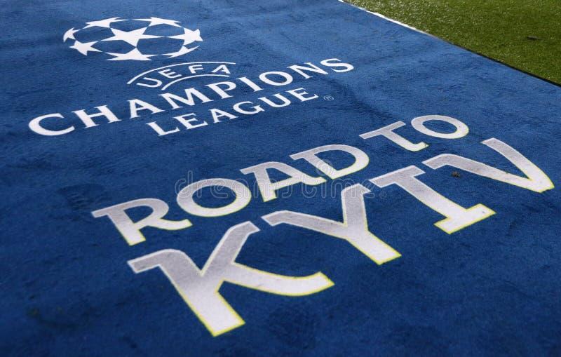UEFA Champions League: Shakhtar Donetsk v Roma. KHARKIV, UKRAINE - FEBRUARY 21, 2018: Official UEFA Champions League Final logo on the carpet during UEFA stock photography